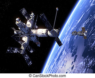 "Spacecraft ""Soyuz "" And Space Station. 3D Scene."