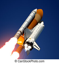 Space Shuttle Launch 3D Scene