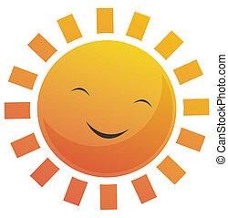 Cartoon Sun Face - Cartoon illustration of a sun with a...