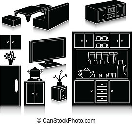 Set of furniture icons - Vector illustration of Set of...