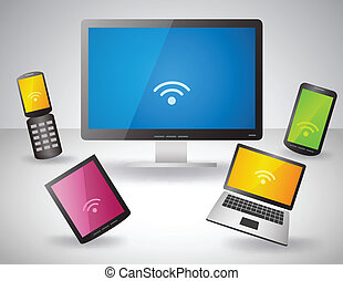 Set of electronic devices - Vector illustration of Set of...