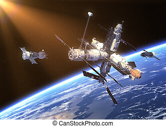 Spacecraft Soyuz And Space Station. 3D Scene.