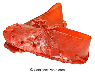 Rawhide Shoe Dog Chews - Red rawhide dog shoe chew treats,...