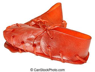 Rawhide Shoe Dog Chews - Red rawhide dog shoe chew treats,...