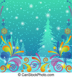 Christmas background, winter forest - Christmas fairy...