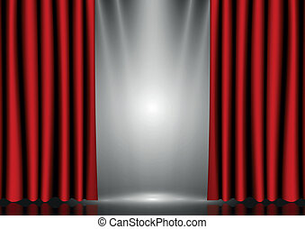 Red curtains on lighting stage