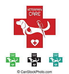 Vector image of veterinary symbol with dog cat and bird on...
