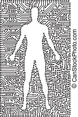 Silhouette of man in an electronic tech background -...
