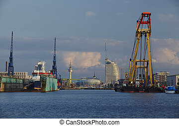 Bremerhaven (Germany) - Sight from the harbour to the inner...