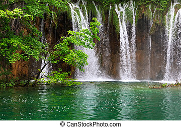 Small Waterfall in the Plitvice Lakes in Croatia