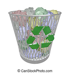 Recycle Bin - Colored Paper - A metal recycling basket...