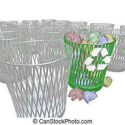 Choosing to Recycle - Many Trash Bins - Many trash bins,...