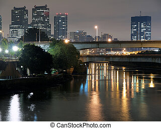 Philadelphia River Night - Philadelphia river, bridges and...