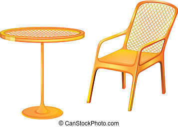 A table and chair furniture - Illustration of a table and...