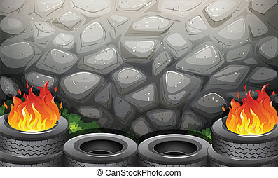 Burning tires near the stonewall - Illustration of the...