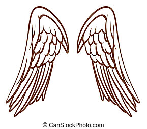 A simple sketch of an angel's wings - Illustration of a...