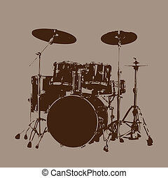 Drum kit vector - Grunge Drum kit vector