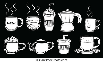 Different drinks - Illustration of the different drinks on a...