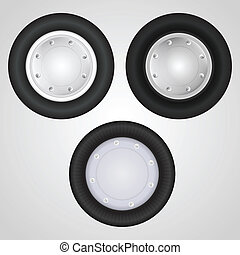 Vector icons for auto parts Wheel - Set of three wheels for...