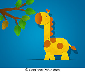 Giraffe Paper Clipart isolated on Blue Background