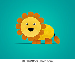 Lion Paper Clipart isolated on Blue Background