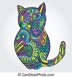 cat illustration - cute cat illustration - doodle style...