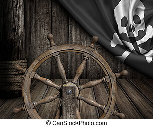 Pirates ship deck with steering wheel and flag
