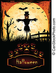 Scarecrow Halloween - Holiday Halloween Poster for Halloween...