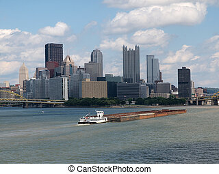 Pittsburgh Waterfront with Barge - Pittsburgh riverfront...