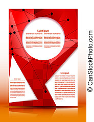Flyer with geometric elements for text on a red background. Vect