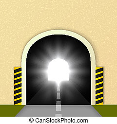 Road tunnel, the glare of headlights. Vector illustration.