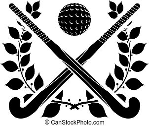 Black silhouette of two sticks for field hockey and ball...