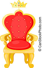 Bright red throne and the royal crown isolated on a white...