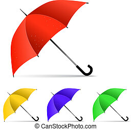 Set of multi-colored umbrella isolated on white background. Vect