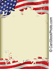 Vertical USA flag background - A poster with a large...
