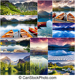collage - Creative collage of many nature photos. Mountain...