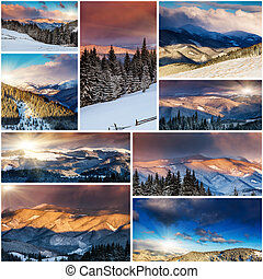 winter - Creative collage of many nature photos Carpathian,...