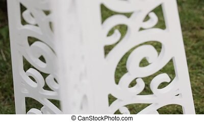 Decorative stand - Panorama of decorative white curly stand