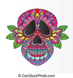 Day of the Dead Skull - Day of the Dead Sugar Skull - Vector...