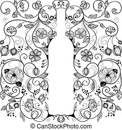 Abstract wine bottle - Abstract picture of floral wine...
