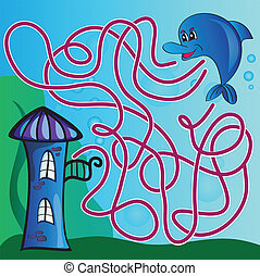 Vector puzzle for kids - the marine life - Vector puzzle for...