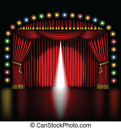 stage with opening red curtain