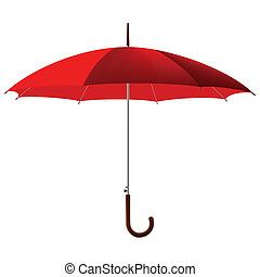 red umbrella - open classic red umbrella stick