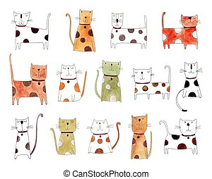 cats pattern - Artistic work. Watercolors on paper