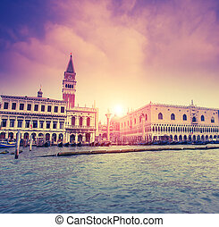retro town - Amazing view of Grand Canal at sunset. San...