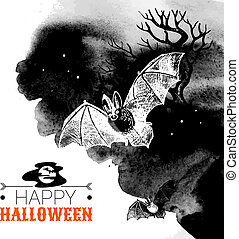 Halloween background. Typographic poster. Hand drawn sketch...