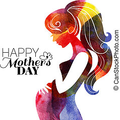 Waterolor beautiful pregnant woman Vector illustration