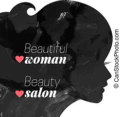 Fashion beautiful woman silhouette Watercolor vector...