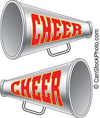 Megaphone-Cheer - Illustration of two versions of a...