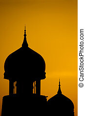 Silhouette of a mosque - Silhouette of a mosque in sunset
